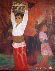 日本画「妙なる国の少女(バリ島)」後藤 仁