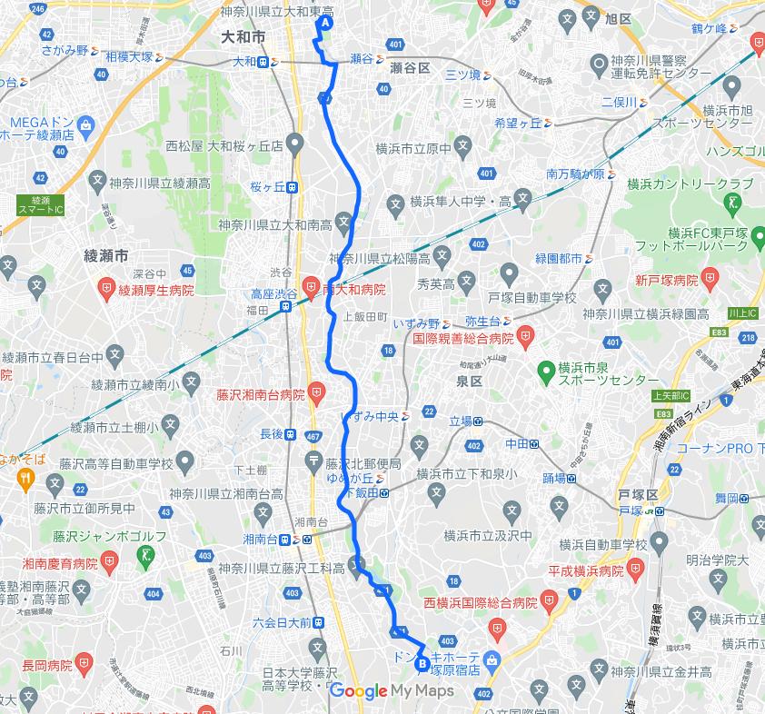飯田牧場までの地図