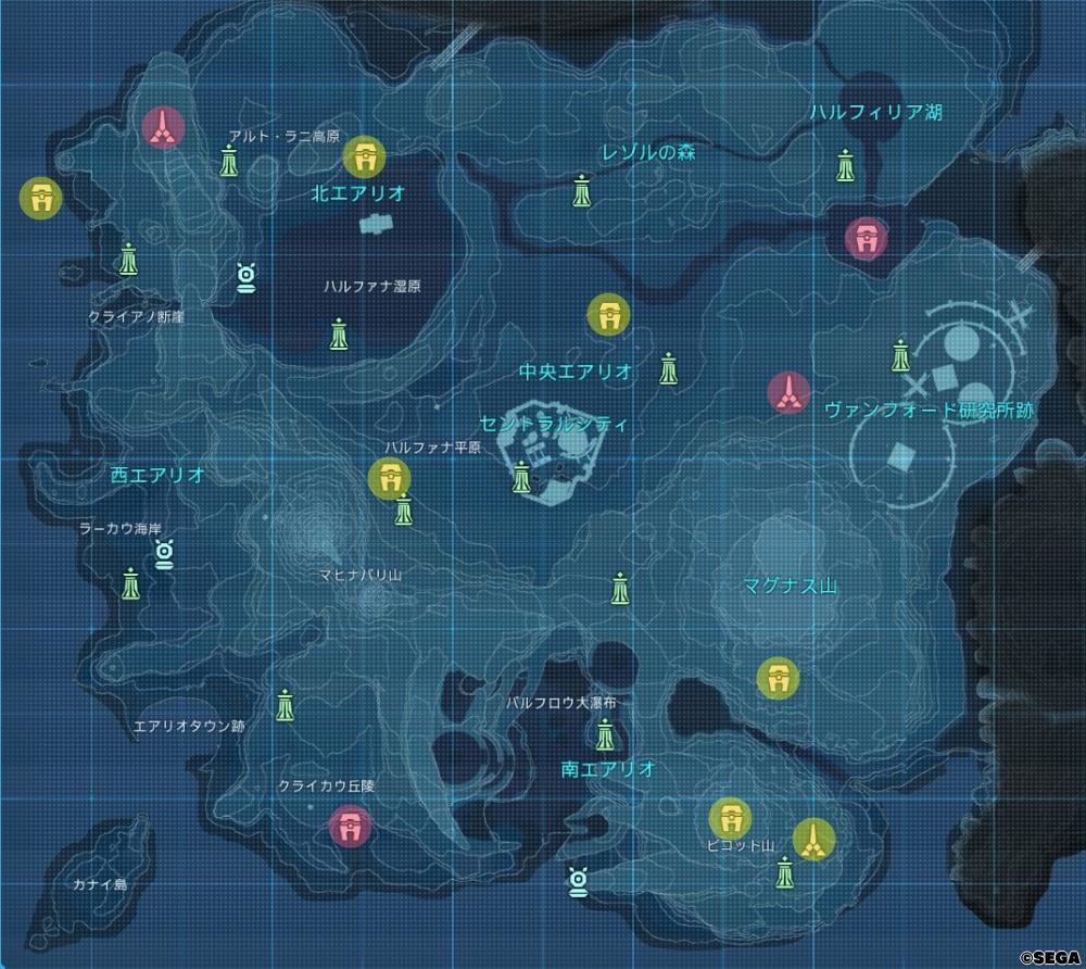 コクーンとタワーの場所を示した地図