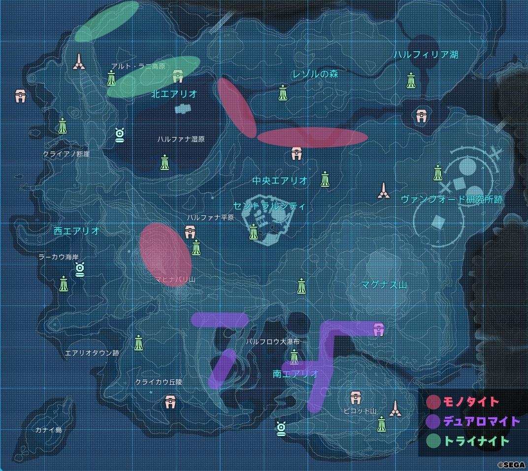 鉱石の入手場所の地図