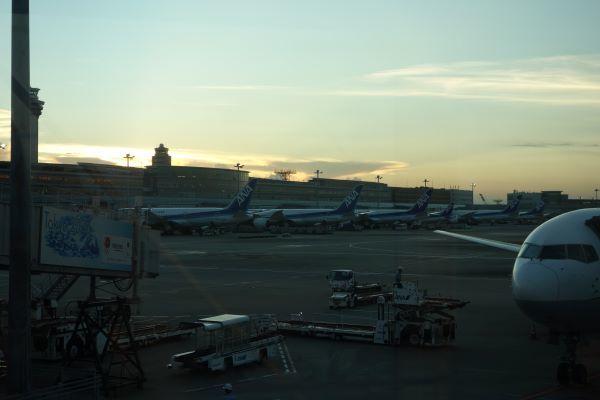 陽が落ちかけの羽田空港.JPG