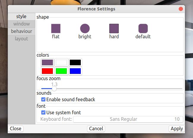 Florence Virtual Keyboard オプション スタイル