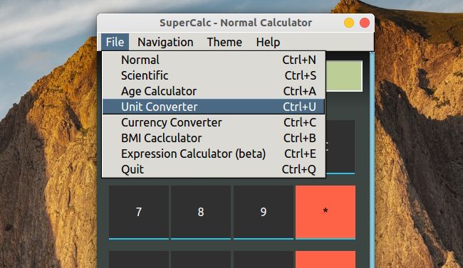 SuperCalc 電卓 メニュー