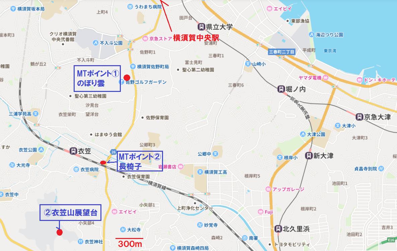 衣笠駅周辺ハイフリMAP